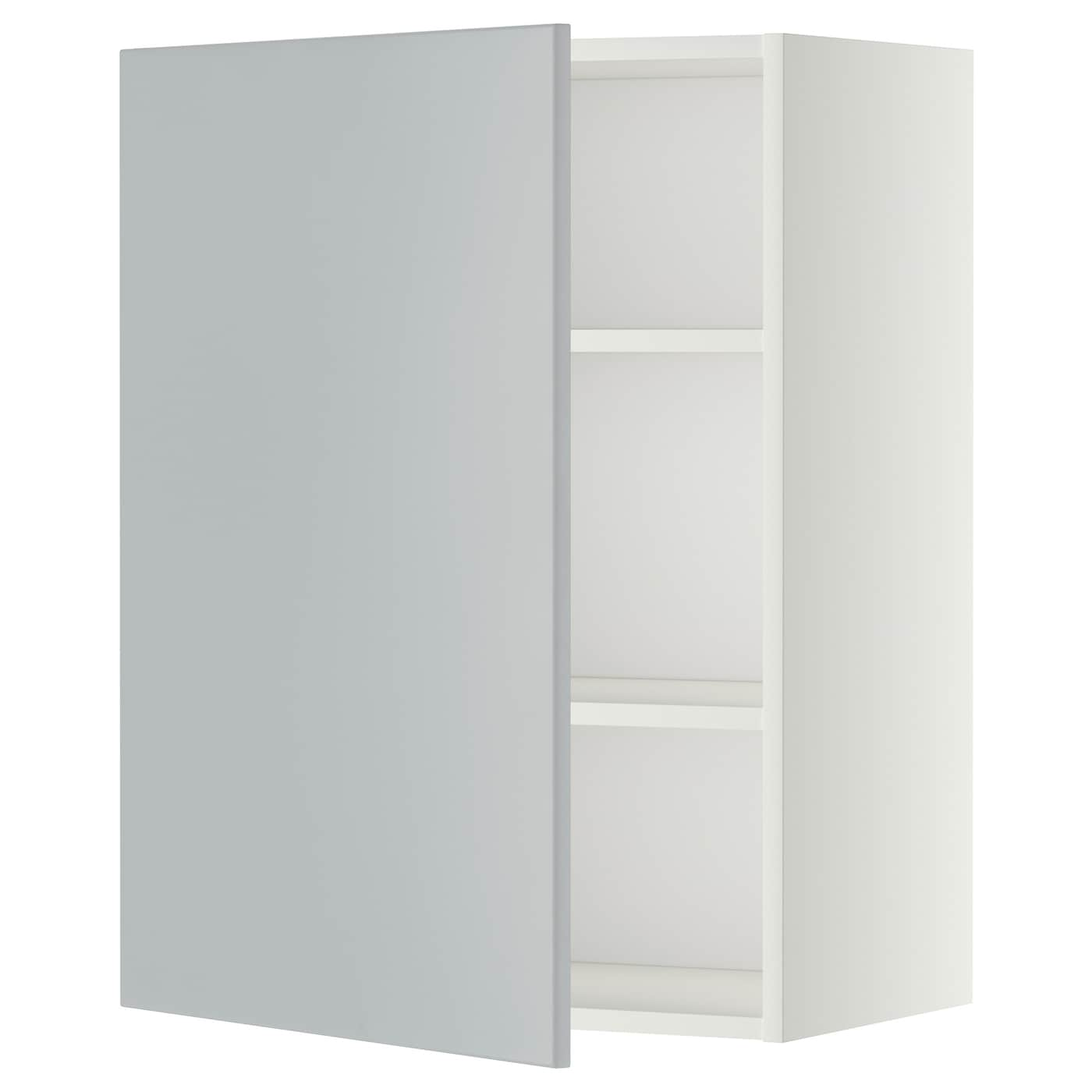 metod wall cabinet with shelves white veddinge grey 60x80 cm ikea. Black Bedroom Furniture Sets. Home Design Ideas