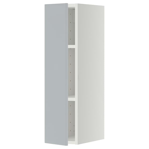 METOD Wall cabinet with shelves, white/Veddinge grey, 20x80 cm