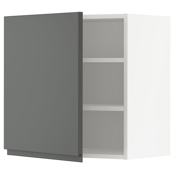 METOD Wall cabinet with shelves, white/Voxtorp dark grey, 60x60 cm