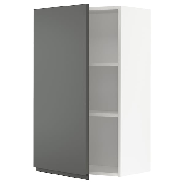 METOD Wall cabinet with shelves, white/Voxtorp dark grey, 60x100 cm