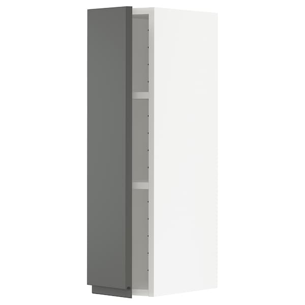 METOD Wall cabinet with shelves, white/Voxtorp dark grey, 20x80 cm