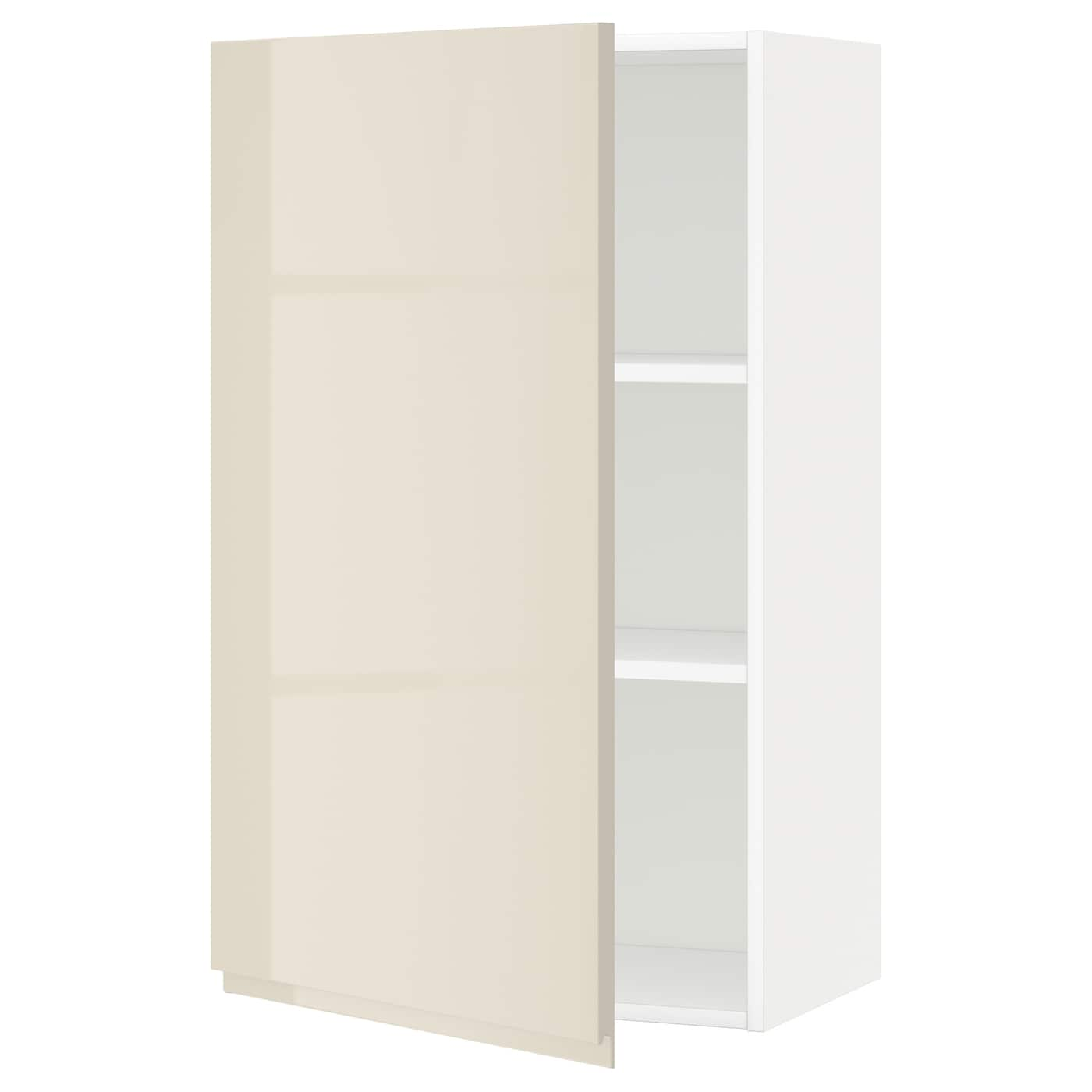 METOD Wall cabinet with shelves Whitevoxtorp high gloss