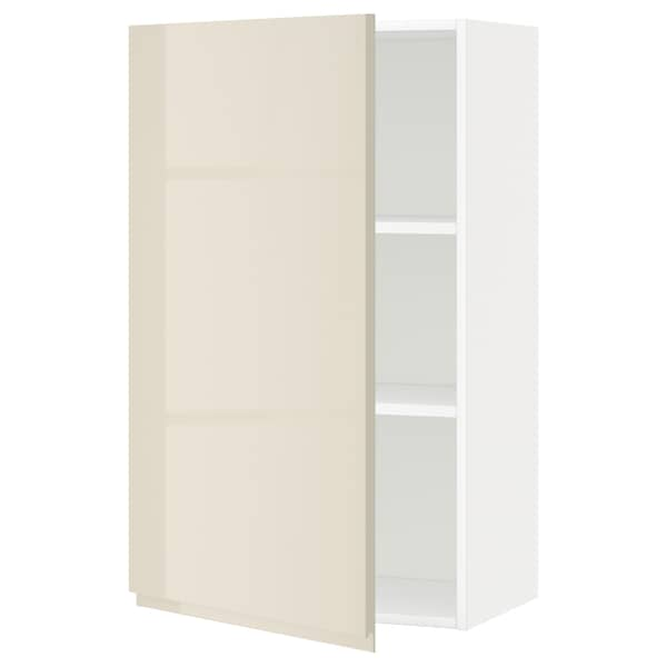 METOD Wall cabinet with shelves, white/Voxtorp high-gloss light beige, 60x100 cm