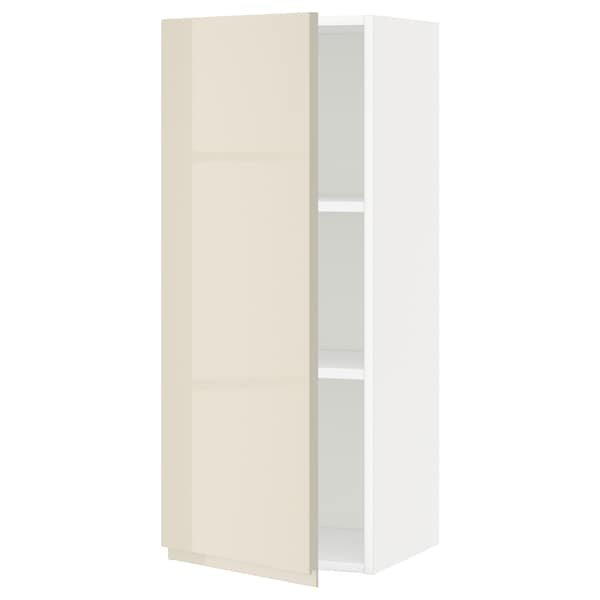 METOD Wall cabinet with shelves, white/Voxtorp high-gloss light beige, 40x100 cm