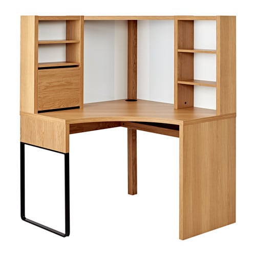 MICKE Corner Workstation Oak Effect 100x142 Cm IKEA