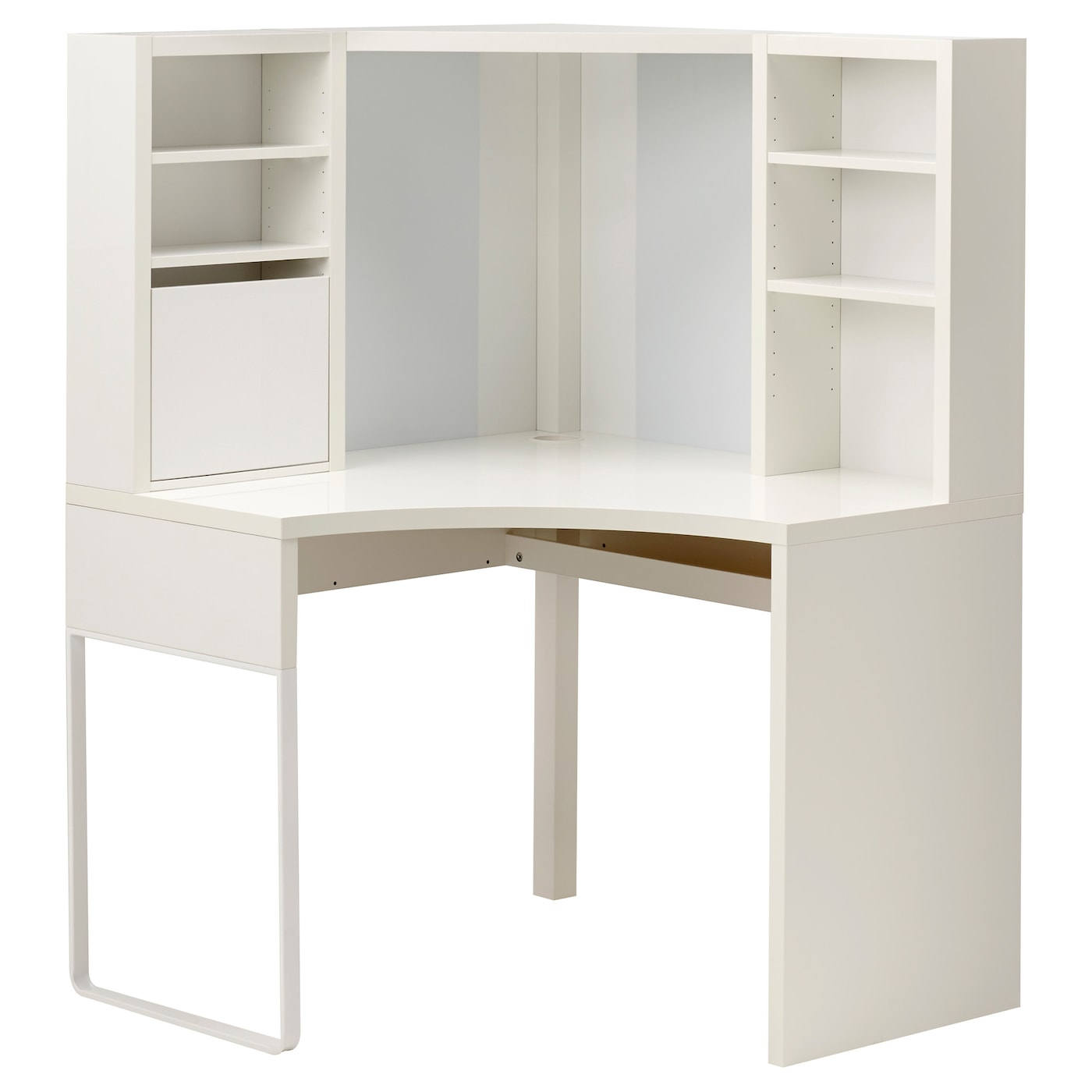 Micke corner workstation white 100 x 142 cm ikea for White desk with hutch ikea