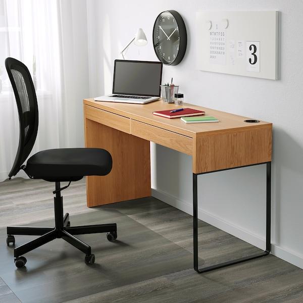MICKE Desk, oak effect, 142x50 cm