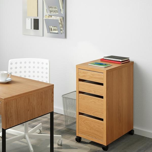 MICKE Drawer unit on castors, oak effect, 35x75 cm