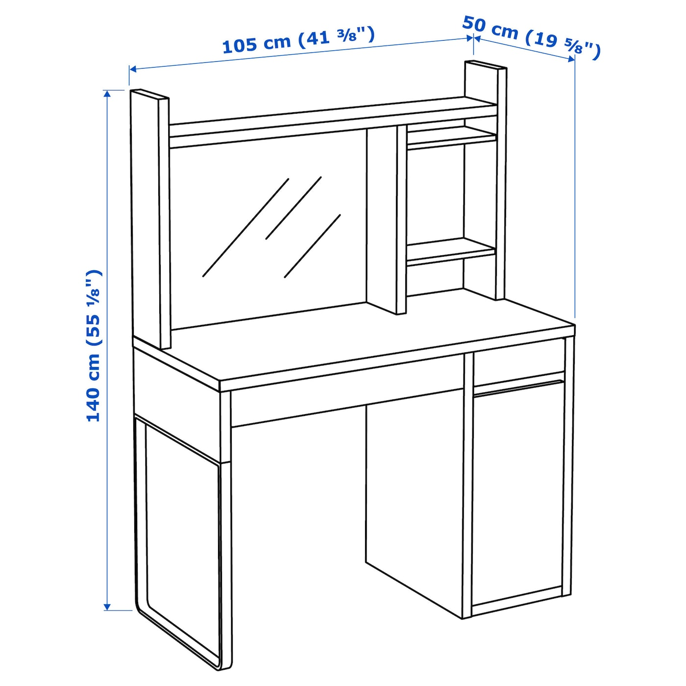 IKEA MICKE workstation Drawer stops prevent the drawers from being pulled out too far.