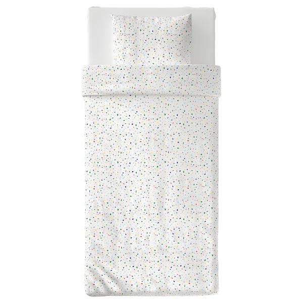 MÖJLIGHET Quilt cover and pillowcase, white/mosaic patterned, 150x200/50x80 cm