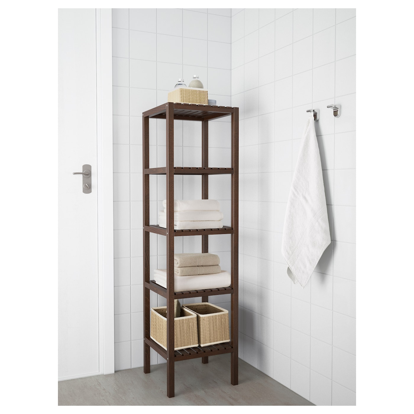 Molger shelving unit dark brown 37x140 cm ikea Open shelving
