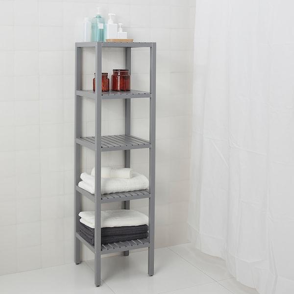 MOLGER Shelving unit, grey, 37x140 cm