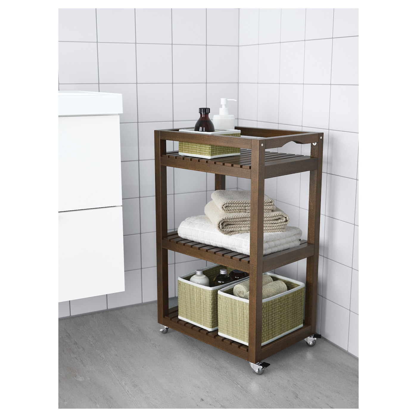 Molger trolley dark brown 33x47x76 cm ikea for Contenitori ikea bagno