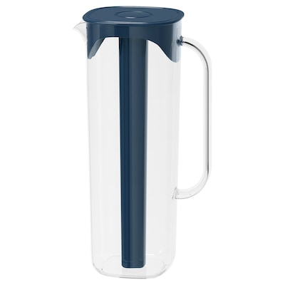 MOPPA Jug with lid, dark blue/transparent, 1.7 l