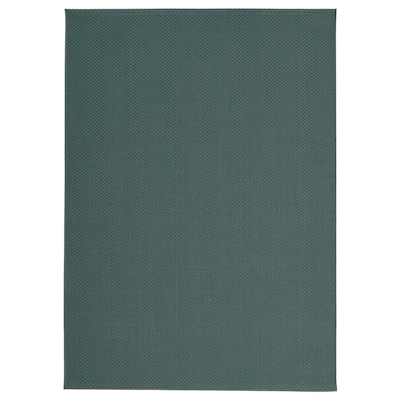 MORUM Rug flatwoven, in/outdoor, grey/turquoise, 160x230 cm