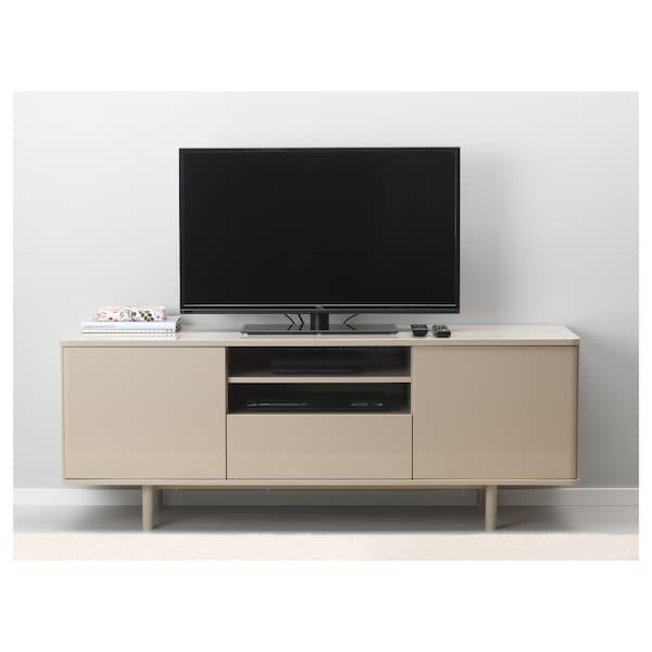 MOSTORP TV bench high-gloss beige 160 cm 47 cm 60 cm 50 kg