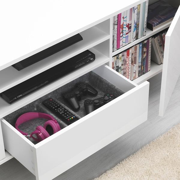 MOSTORP TV bench high-gloss white 160 cm 47 cm 60 cm 50 kg