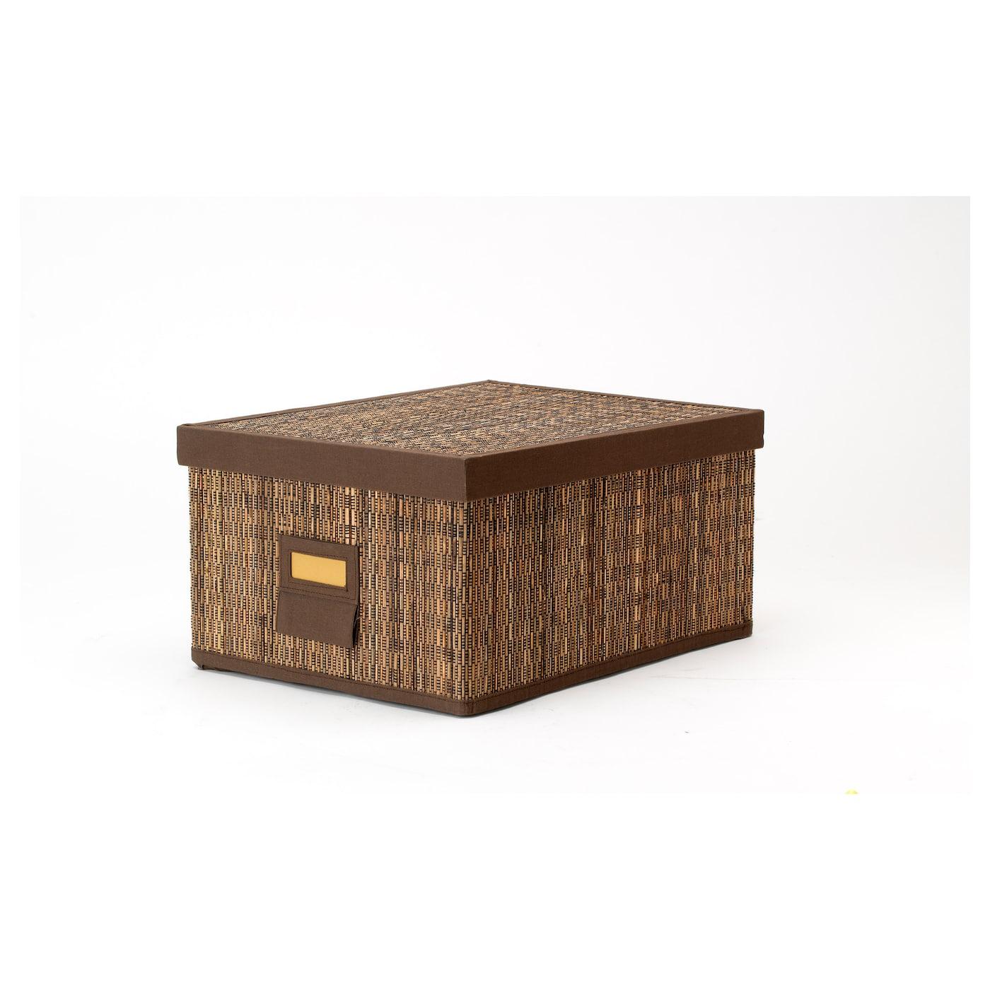 motorp box with lid palm leaf 28x35x18 cm ikea. Black Bedroom Furniture Sets. Home Design Ideas