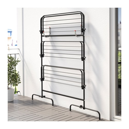 Mulig drying rack 3 levels in outdoor black ikea for Ikea clothes rack