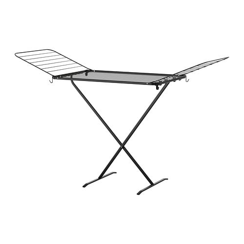 MULIG Drying rack IKEA Suitable for both indoor and outdoor use.  Two fold-out wings give room for more laundry.  Folding; saves space when not in use.