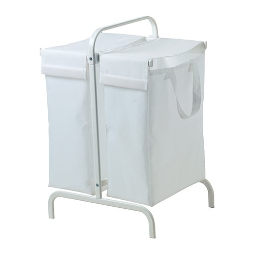 IKEA MULIG laundry bag with stand You can sort your light and dark laundry in the two separate bags.