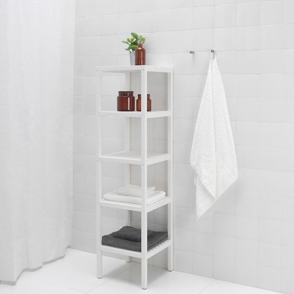 MUSKAN Shelving unit, white, 37x140 cm