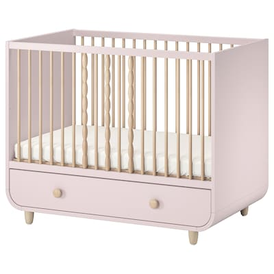 MYLLRA Cot with drawer, pale pink, 70x140 cm