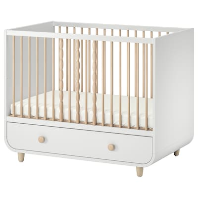 MYLLRA Cot with drawer, white, 70x140 cm