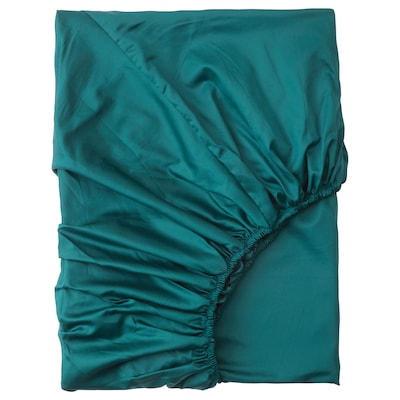 NATTJASMIN Fitted sheet, dark green, 90x200 cm