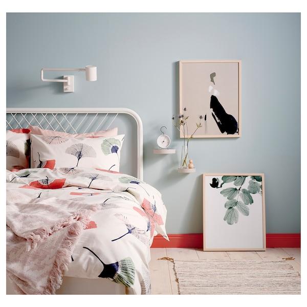 NESTTUN Bed frame, white/Lönset, Standard Double