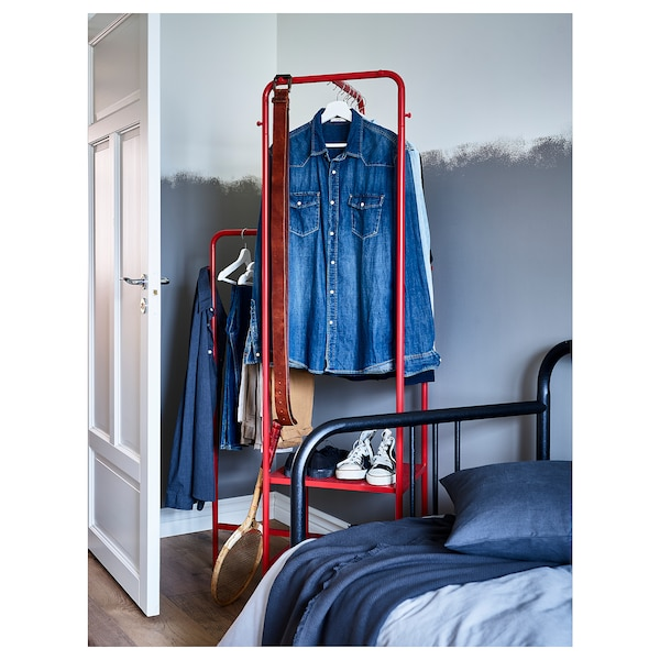 NIKKEBY clothes rack red 80 cm 40 cm 170 cm