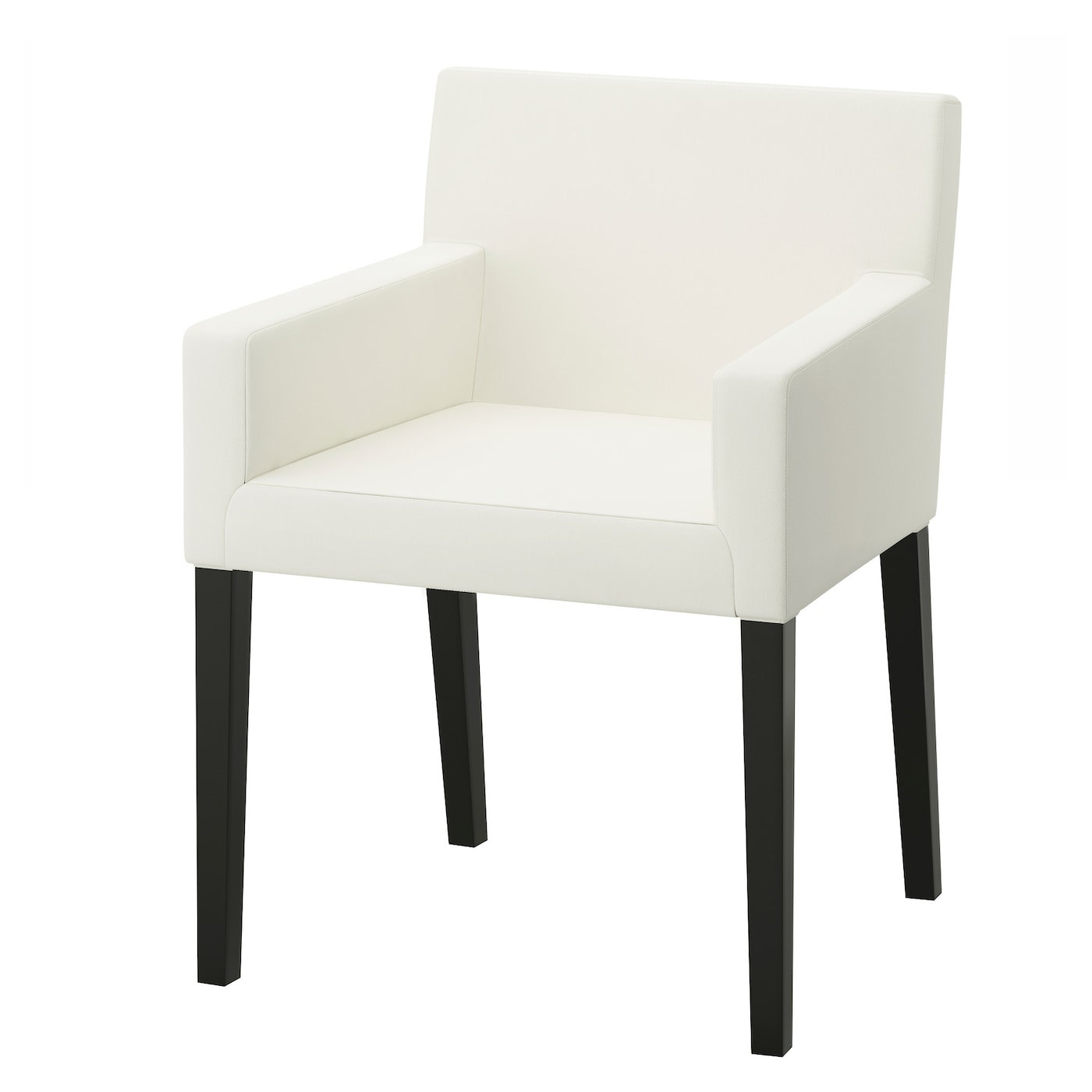 Nils chair with armrests black blekinge white ikea for Chaise salle a manger avec accoudoir