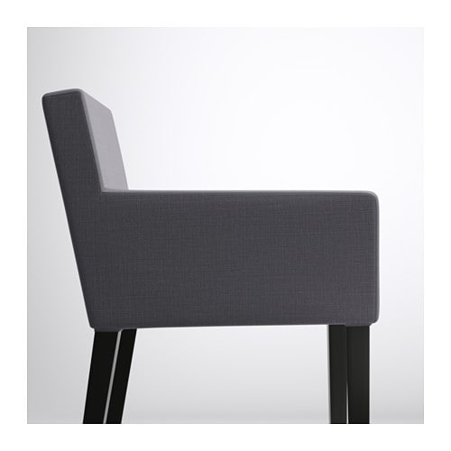 NILS Chair with armrests Black  skiftebo dark grey   IKEA