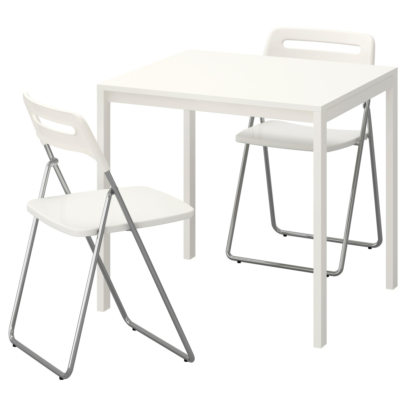 nisse melltorp table and 2 folding chairs white white 75 cm ikea. Black Bedroom Furniture Sets. Home Design Ideas