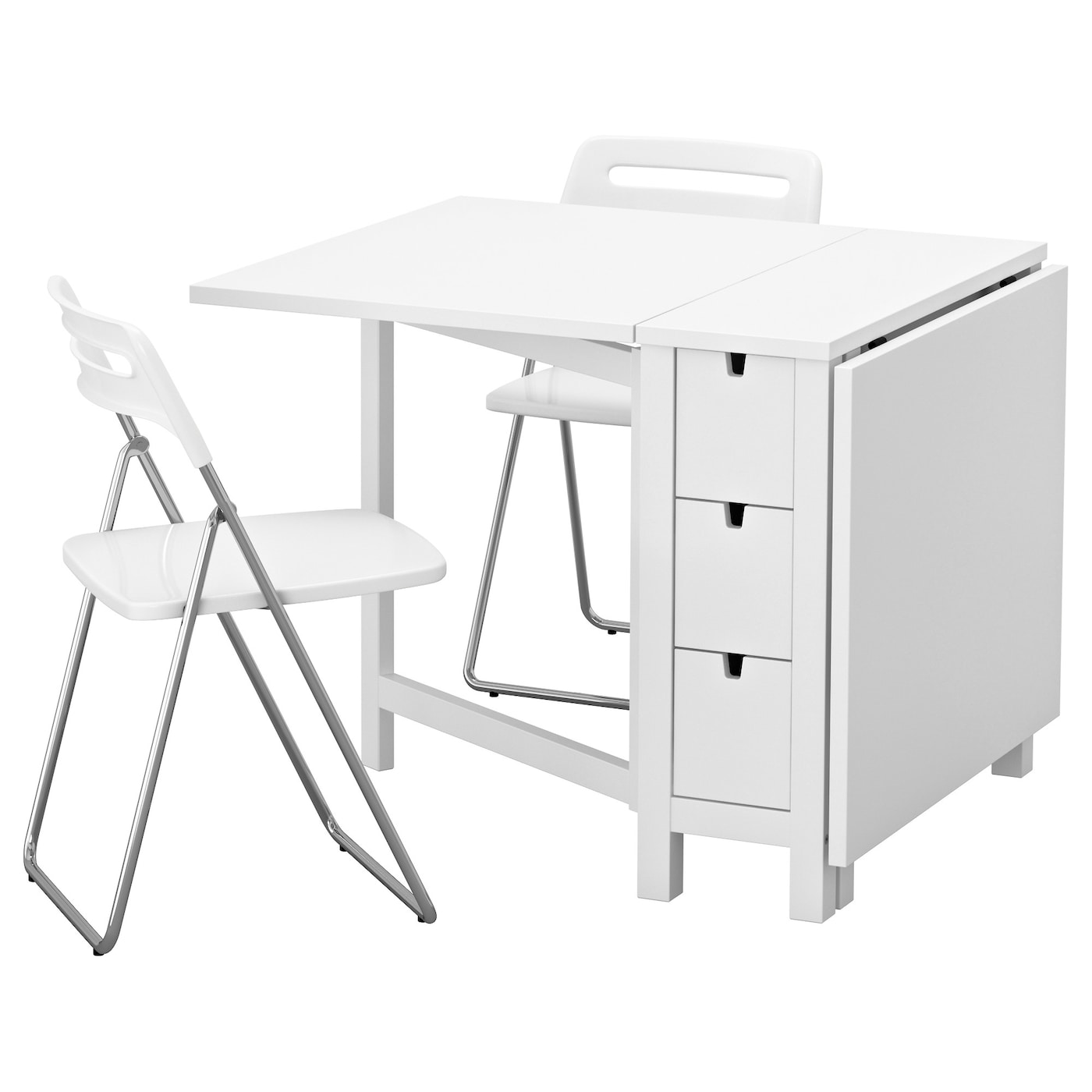 Nisse norden table and 2 folding chairs white 89 cm ikea for Table qui s agrandit ikea