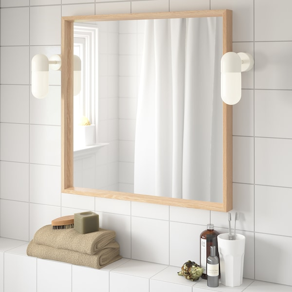 NISSEDAL Mirror, white stained oak effect, 65x65 cm