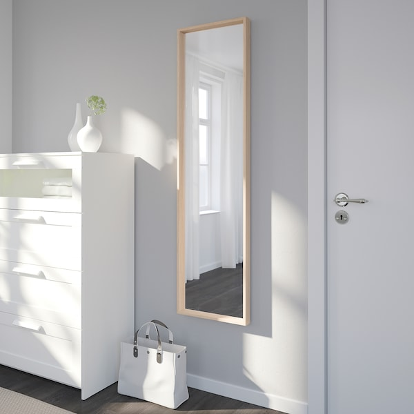 NISSEDAL Mirror, white stained oak effect, 40x150 cm