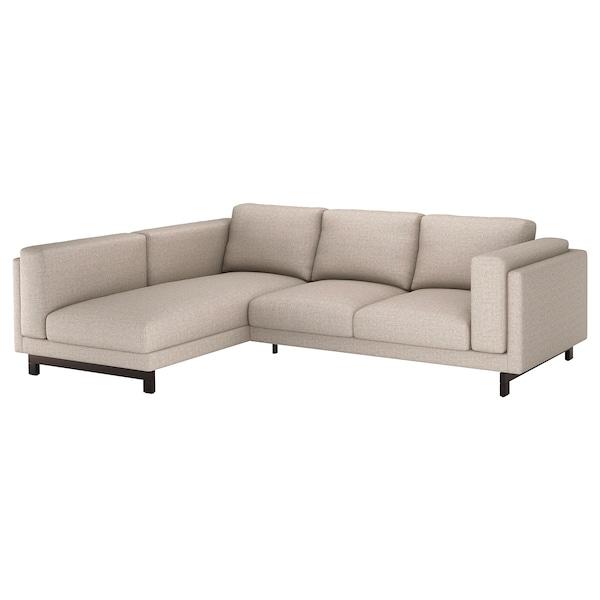 NOCKEBY 3-seat sofa, with chaise longue, left/Lejde dark beige/wood
