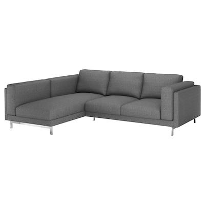 NOCKEBY 3-seat sofa, with chaise longue, left/Lejde dark grey/chrome-plated