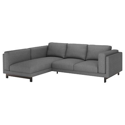 NOCKEBY 3-seat sofa, with chaise longue, left/Lejde dark grey/wood