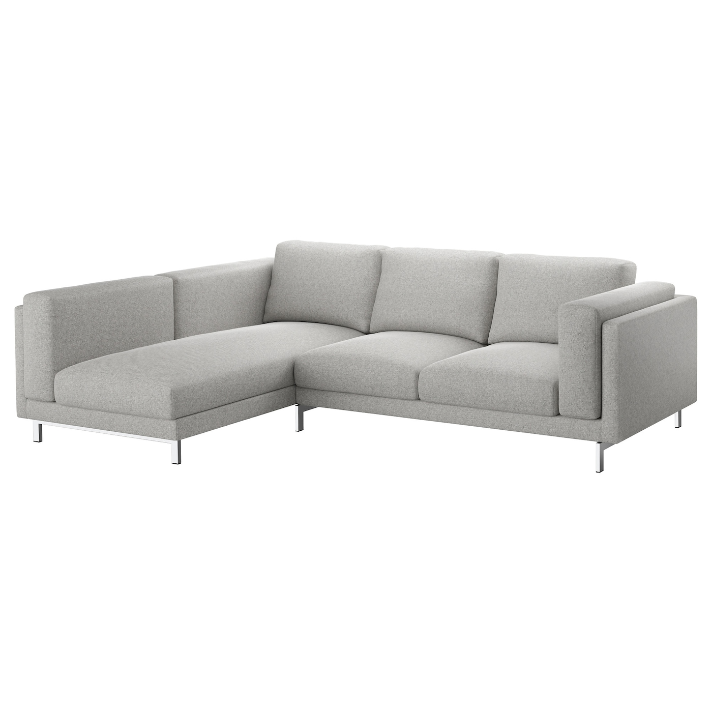 nockeby 3 seat sofa with chaise longue left tallmyra white black chrome plated ikea. Black Bedroom Furniture Sets. Home Design Ideas