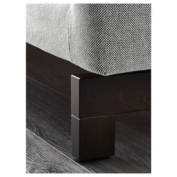 NOCKEBY 3-seat sofa, with chaise longue, left/Tallmyra white/black/wood