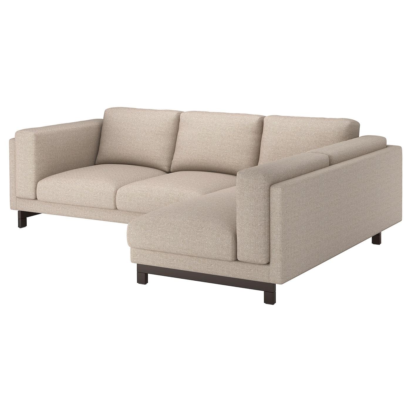 NOCKEBY 3-seat sofa With chaise longue, right/lejde dark beige/wood ...