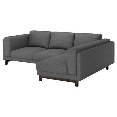NOCKEBY 3-seat sofa, with chaise longue, right/Lejde dark grey/wood