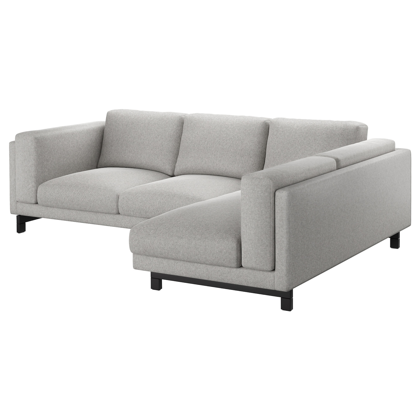 nockeby 3 seat sofa with chaise longue right tallmyra white black wood ikea. Black Bedroom Furniture Sets. Home Design Ideas