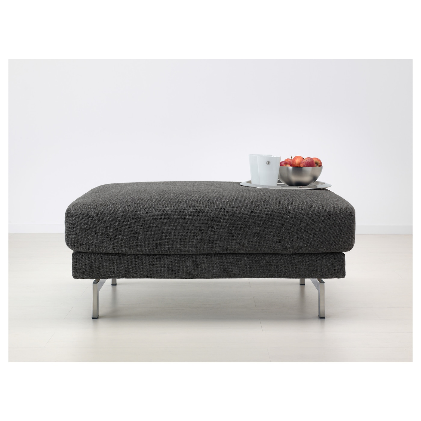 IKEA NOCKEBY footstool Heavy, hard-wearing fabric with structure, yarn dyed in different shades.