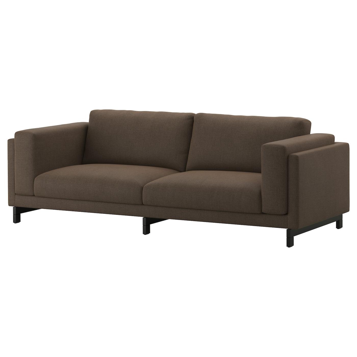 Nockeby three seat sofa ten brown wood ikea for Sofa nockeby