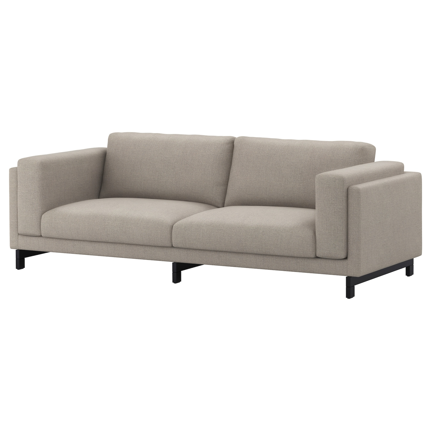 NOCKEBY Three seat sofa Ten u00f6 light grey  wood   IKEA