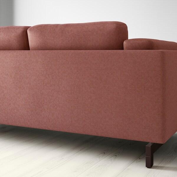 NOCKEBY three-seat sofa Tallmyra rust/wood 251 cm 97 cm 82 cm 15 cm 60 cm 44 cm
