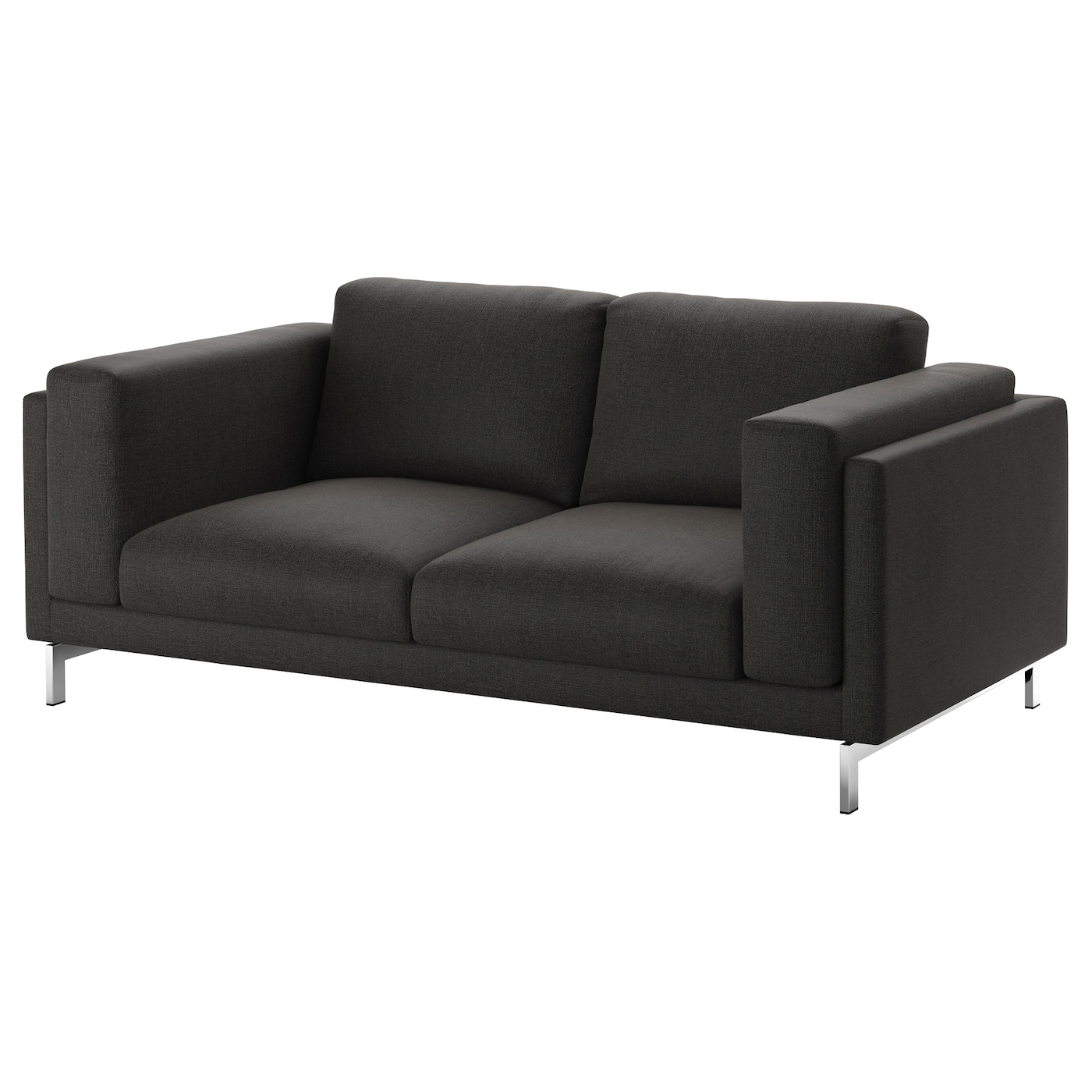 nockeby two seat sofa ten dark grey chrome plated ikea. Black Bedroom Furniture Sets. Home Design Ideas